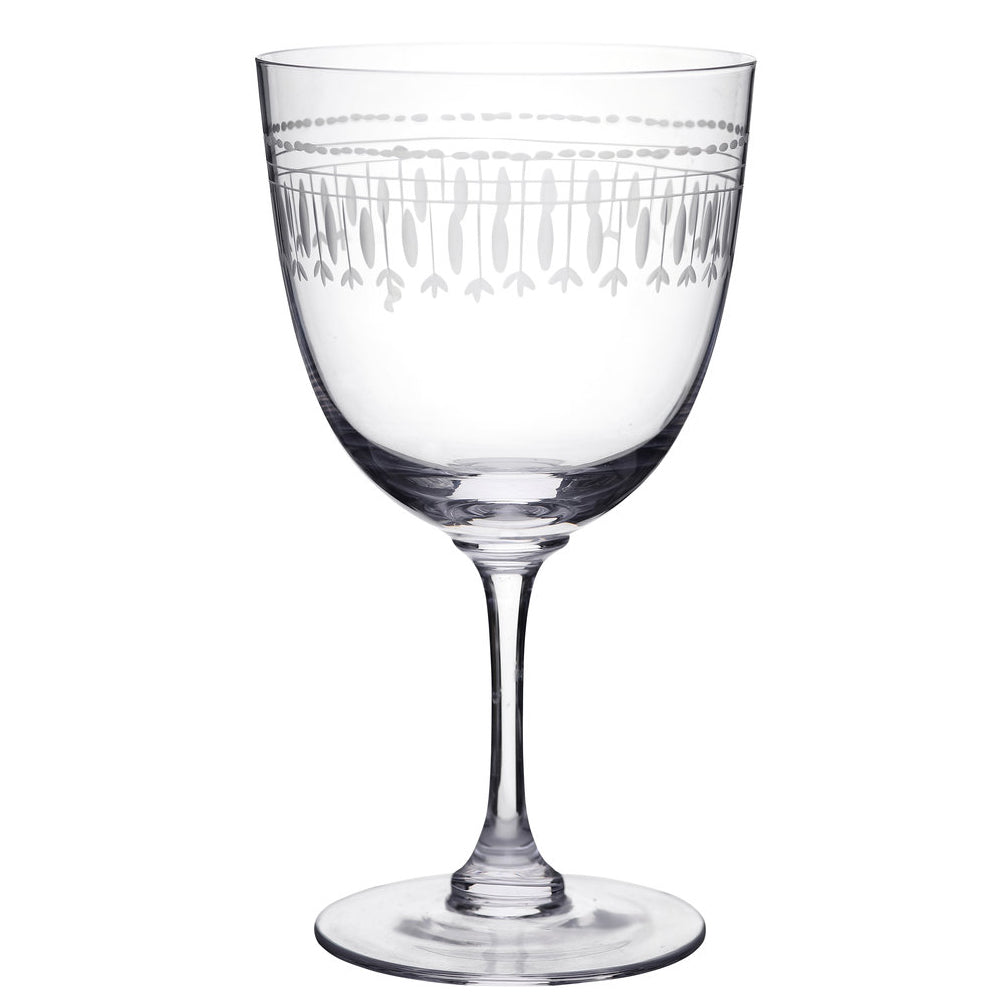 Pair of Oval Etched Wine Glasses