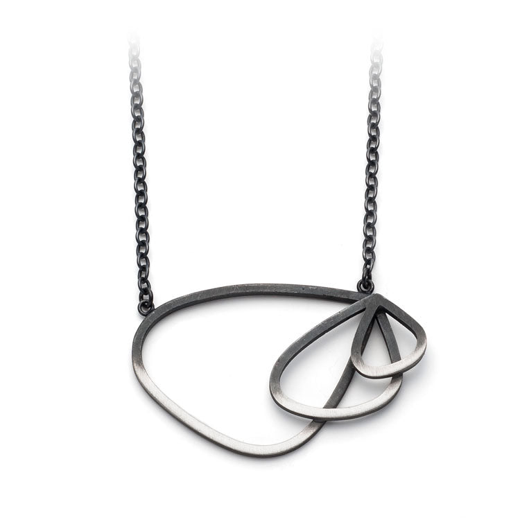 Triple Wing Loop Necklace in Oxidised Silver