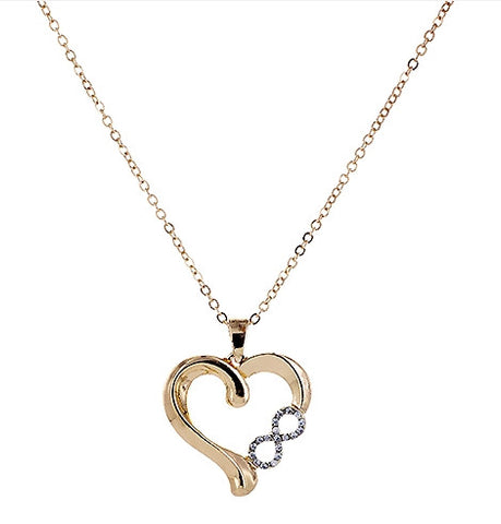 Heart Necklace with Crystal Infinity Symbol in 14k Gold