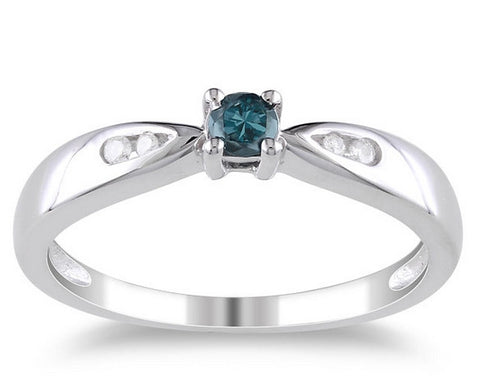 Sterling Silver Blue and White Diamond Ring