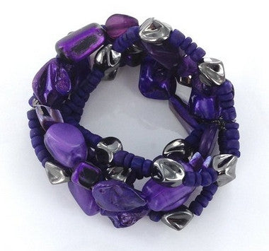 Purple & Hematite 5-Row Bracelet