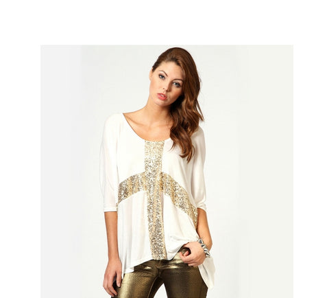 Cross Sequin Top