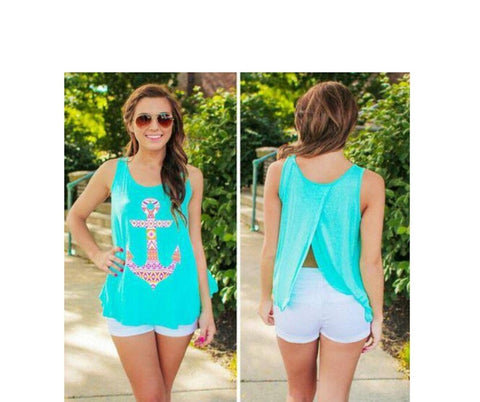 Teal Anchor Babydoll Tank