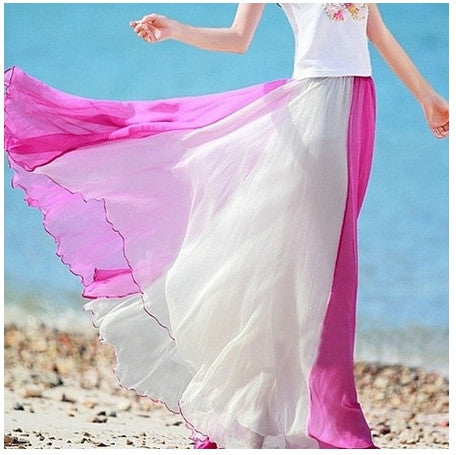 Pink Flowing Chiffon Skirt