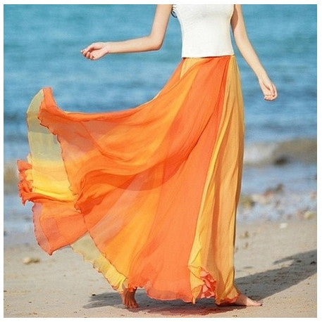 Orange Flowing Chiffon Skirt