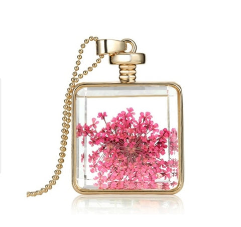Pink Dandelion Necklace