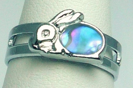 Paua Shell Silver Bunny Rabbit Ring