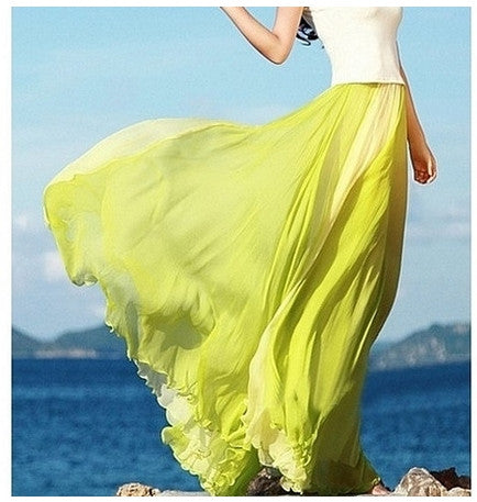 Green Flowing Chiffon Skirt