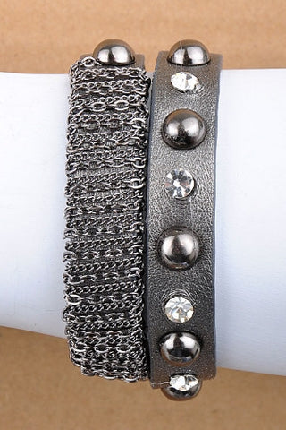 Gunmetal Leather with Crystals & Chain Bracelet