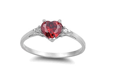 Sterling Silver Ruby Red Heart Ring with Heart-Shaped Gift-Box