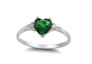 Sterling Silver Emerald Heart Ring with Heart-Shaped Gift-Box