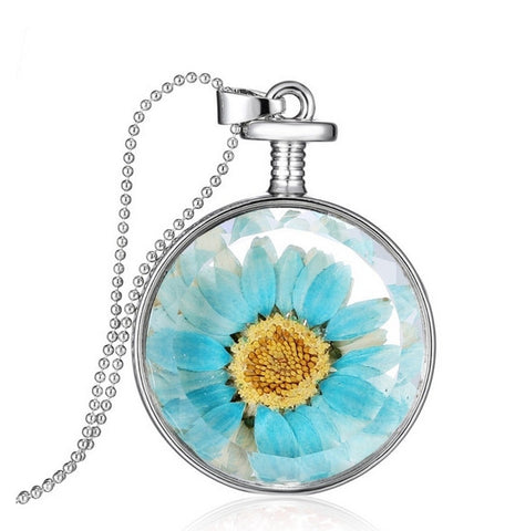 Teal Daisy Necklace