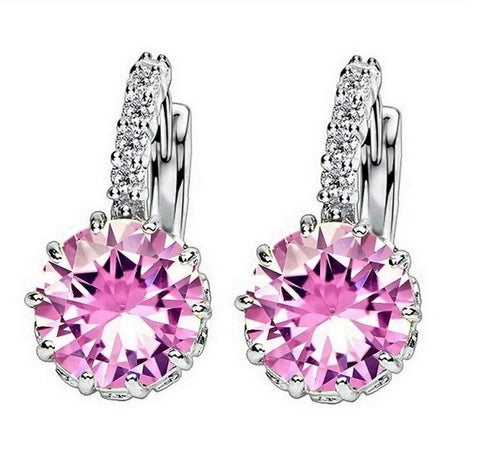 Swarovski Pink Ice in 18K White Gold Earrings