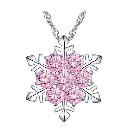 Pink Ice Snowflake Necklace