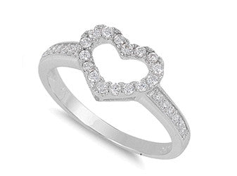 Sterling Silver Open Heart Ring with Heart-Shaped Gift-Box