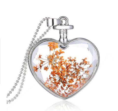 Orange Dandelion Heart  Necklace