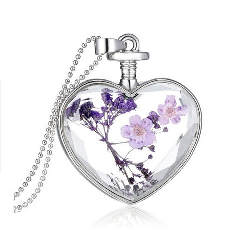 Purple Dried Flower Heart Necklace