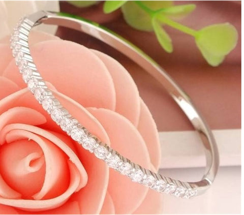 .925 Silver Crystal Tennis Bangle