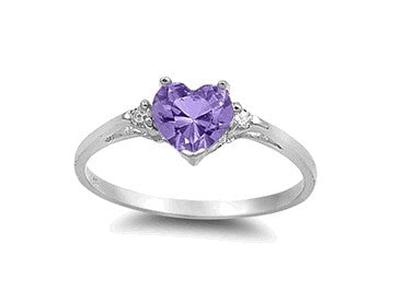 Sterling Silver Amethyst Heart Ring with Heart-Shaped Gift-Box