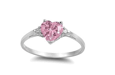 Sterling Silver Pink Heart Ring with Heart-Shaped Gift-Box