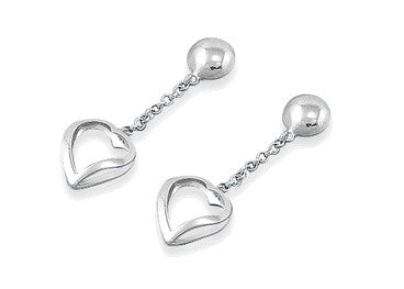 Sterling Silver Heart Dangling Earrings with Heart-Shaped Gift-Box