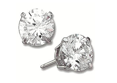 Large 4 ct Sterling Silver CZ Stud Earrings 10MM