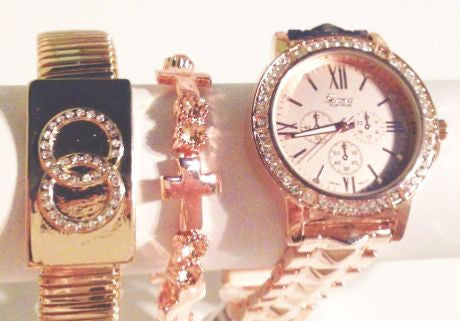 Rose Gold & Platinum Watch Stacking Set