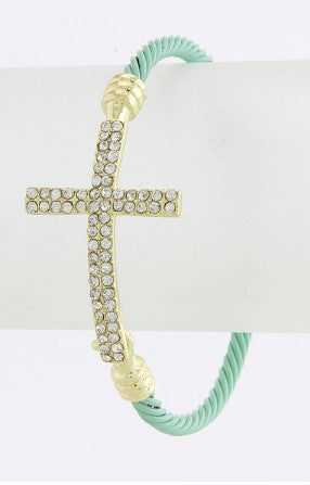 Rhinestone Side Cross Cable Bracelet