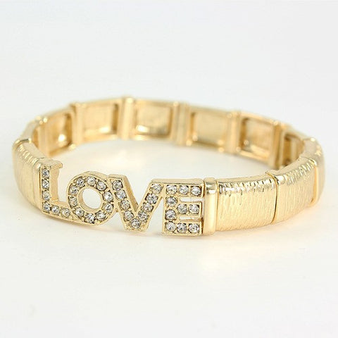 Shimmering Golden Love & Crystal Bracelet