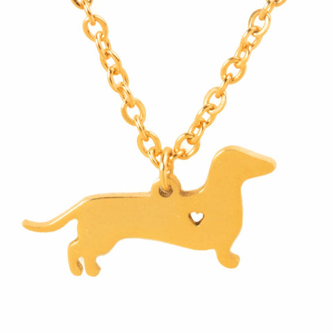 Golden Dachshund Necklace