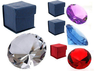 Crystal Glass Diamond Cut Paperweight : 60mm