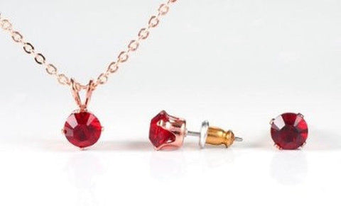 Swarovski Crystal Elements Rose Gold & Siam Ruby Necklace & Earring Set