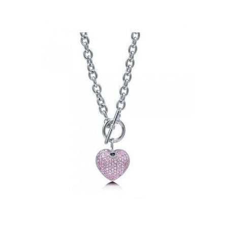 Pale Pink Crystal Heart Toggle Necklace