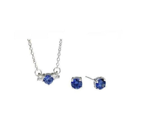 Sterling Silver 3 Stone Sapphire Necklace and Earring Set