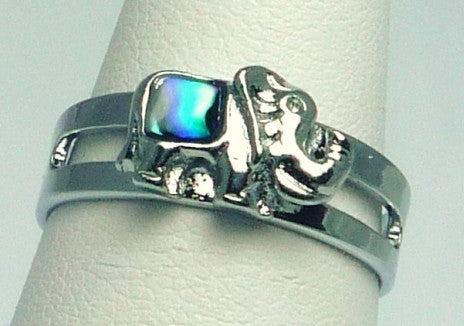 Paua Shell Silver Elephant Ring
