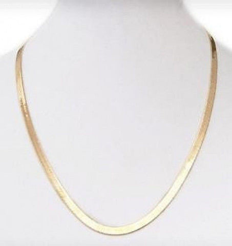 "24"" Herringbone Chain Necklace in 14k Gold Overlay"