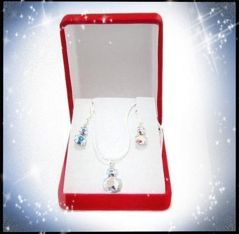 Swarovski Crystal Snowman Necklace & Earring Set in Sterling