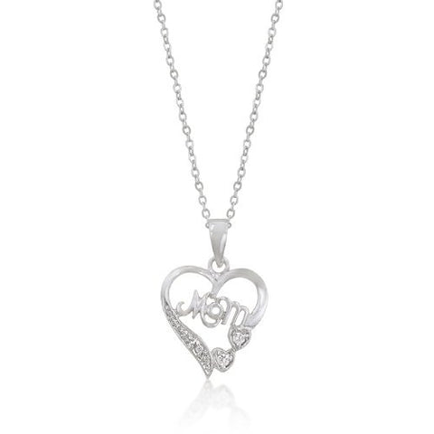 #1 Mom Necklace in White Gold