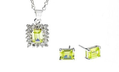 Sterling Silver & Peridot Necklace and Earring Set