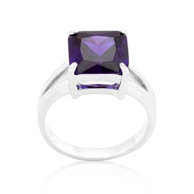 5.5 (ct) Princess Cut White Gold Amethyst CZ Ring
