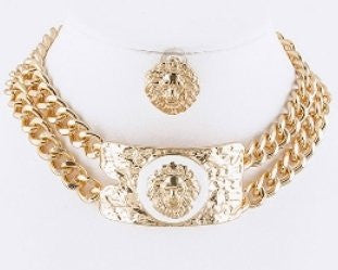 Lion Choker Necklace and Earring Set