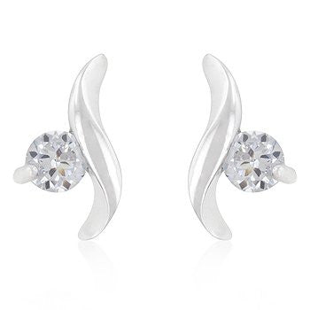 Bonded White Gold Solitaire Twist Earrings