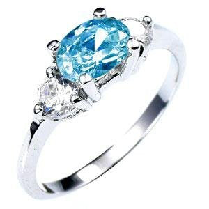 White Gold and Aquamarine CZ Ring