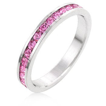White Gold and Pink Ice Swarovski Crystal Channel