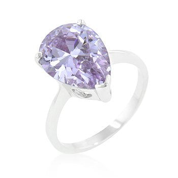 Pear-Cut Lavender Ombre' Solitaire Ring in White Gold