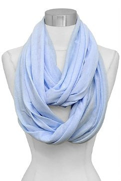 Solid Color Soft Touch Loop/Infinity Scarf in Baby Blue