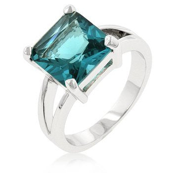 5 (ct) Princess Cut Bonded White Gold Aquamarine CZ Ring