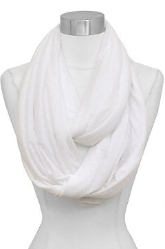 Solid Color Soft Touch Loop/Infinity Scarf in White