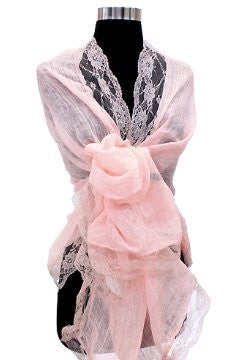100% Linen Shawl with Lace in Light Pink / Peach Pink