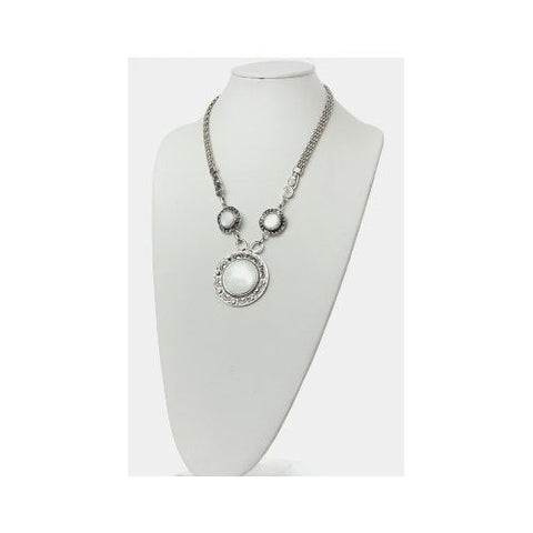 Genuine Moonstone & Silver Pendant Statement Necklace
